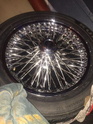 16inch Dayton wire wheels mint condition 28 spoke good tires on all four wheels for Sale in Cumberland, VA