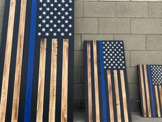 Handade Thin Blue Line Wooden US flags (3 sizes to choose) for Sale in El Monte,  CA