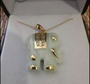 Cutie Jade 14k Gold Elephant Necklace blessing longevity for Sale in West Covina, CA