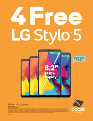 FREE Brand new stylo 5 WHEN YOU SWITCH TO BOOST MOBILE. for Sale in San Antonio, TX