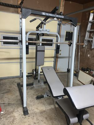 Tracker heavy duty 735 power smith machine with bench for Sale in Joliet, IL