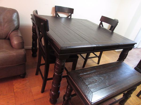 Ashley solid wood dining table (4chairs and a bench) plus server