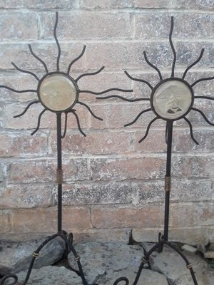 Wrought iron candle holder sun faces for Sale in San Diego, CA
