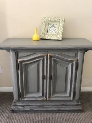 Entryway Cabinet TV Stand Media Center Storage Console Distressed Antique Gray Storage Cabinet EXCELLENT Solid Wood for Sale in San Diego, CA