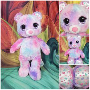 """17"""" Build a Bear Pastel Tie Dye Pink Plush Hearts Feet & Ears BABW Stuffed Teddy for Sale in Dale, TX"""
