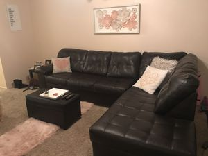 Black Leather Couch + Ottoman for Sale in Bellevue, WA