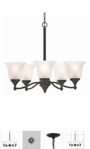 Roseall 5-Light Oil-Rubbed Bronze Traditional Etched Glass Shaded Chandelier New for Sale in La Puente, CA