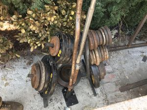 Weight set, weight rack, curl bar, Olympic barbell, barbell landmine for Sale in Irwindale, CA
