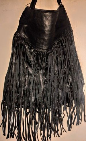 FRINGE HOBO NICE BLACK FAUX LEATHER PURSE for Sale in Fresno, CA