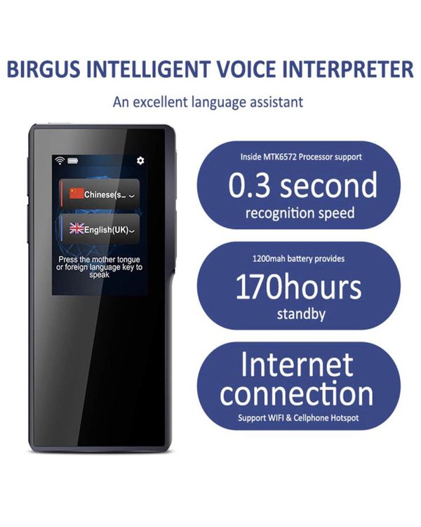 Smart Voice Translator Device,70 Languages Instant Two Way Translation with 2.4 Inch Touch Screen Portable for Travelling Learning Business Shopping