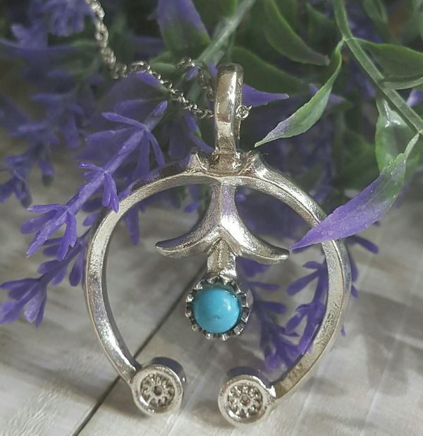 Stamped Sterling Silver Reconstituted Turquoise Pendant Necklace