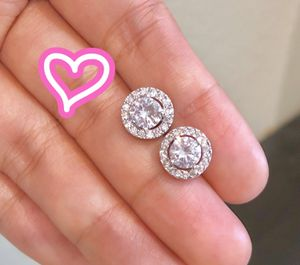 18K White Gold Plated Halo Stud Earrings for Sale in San Ramon, CA