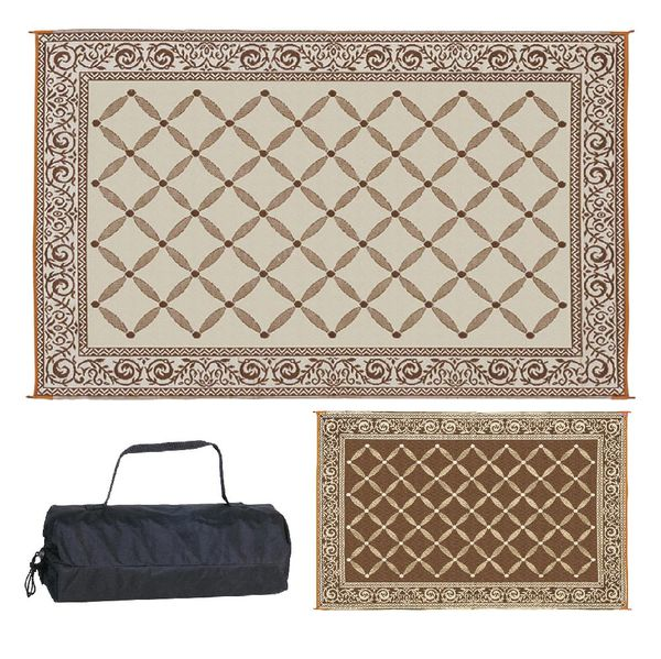 (Multiple Sz Ava) Beige brown tan, Red, Blue Indoor/Outdoor Reversible Area Rug for Camping tents, Patio Beach Chairs, Garage Mat