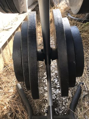 Weight plates with rack for Sale in Los Angeles, CA