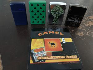 3 Zippo lighters, 1 Loungfly lighter and collectors camel cigarette tin for Sale in Santee, CA