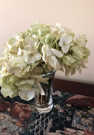 Glass vase with silk flowers for Sale in Herndon, VA