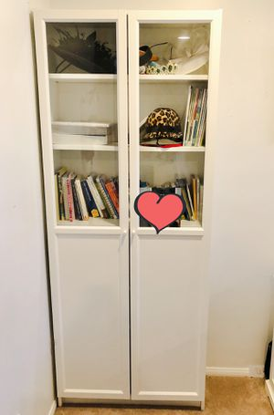 Beautiful brand new white and glass bookcase for Sale in Los Angeles, CA