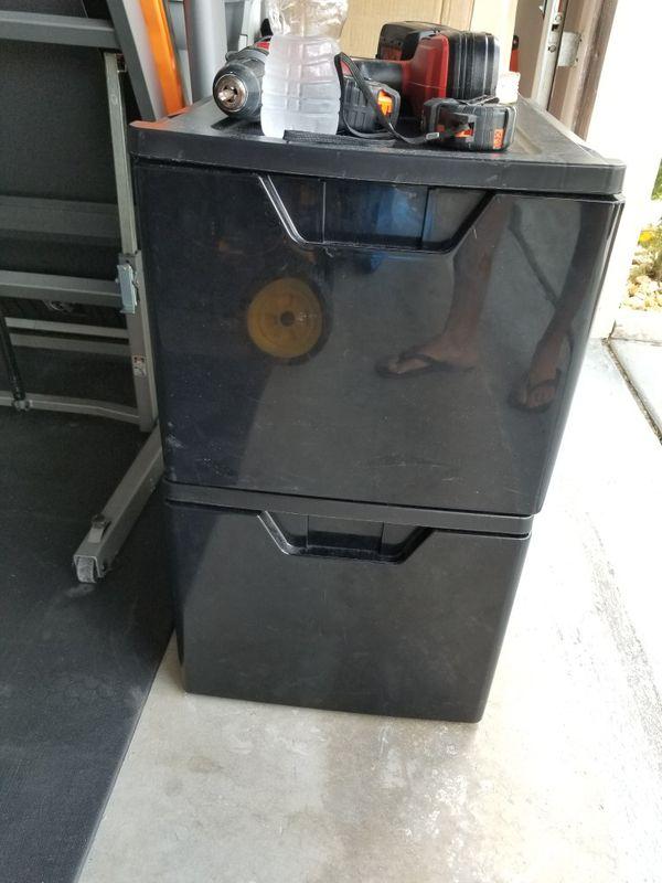 Plastic storage, drawers, bins