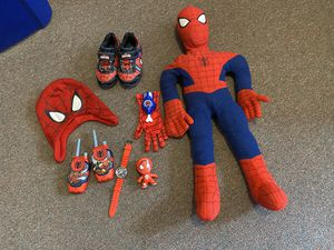 Spiderman toys and Shoes size 10 kids for Sale in Dearborn Heights, MI