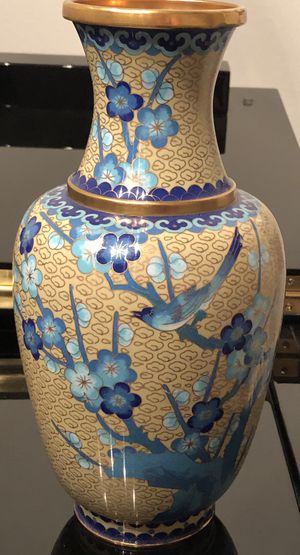Used, cloisonne Japanese Glaze gild flowers birds Vase for Sale for sale  Santa Susana, CA