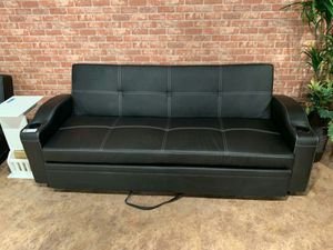 Brand New Black Faux Leather Futon Sofa》SAME-DAY DELIVERY》39 DOWN PAYMENT for Sale in Houston, TX