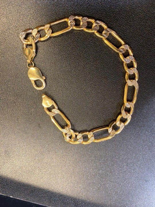 10K Yellow & White Gold Figaro Bracelet