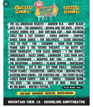 3 weekend warped tour mountain view tickets for Sale in Vallejo, CA