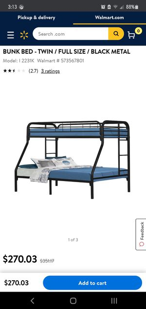 Bunk bed :twin over full for Sale in Chula Vista, CA