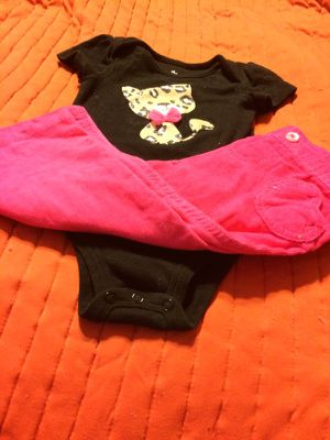 Baby cheetah kitty 2 pc outfit matched by me for Sale in New Brighton, PA