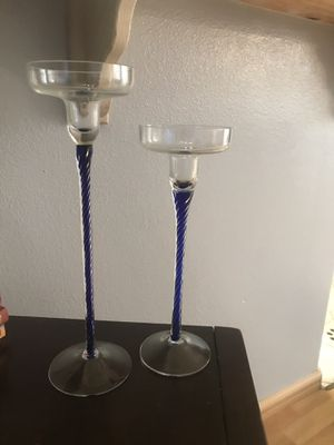Pair of Candle Holders Dark Blue for Sale in Chino Hills, CA