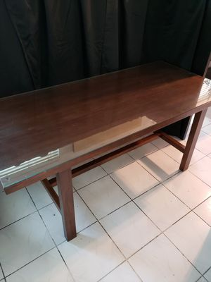 Wood Dining Table (with glass top) for Sale in Hillsboro Beach, FL