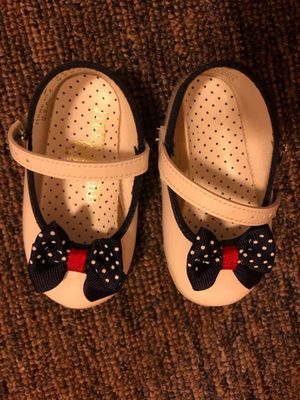 Baby Deer White with Blue Bow Patent Leather Shoes for Sale in Stockbridge, MI