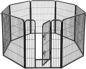 Indoor Outdoor 8 Panels Metal Pet Playpen, Puppy, Small Pet Activity Area Dog Fence in Black for Sale in Montclair, CA