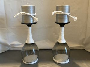 White Rope & Sand Glass Candle Holders for Sale in Riverton, UT