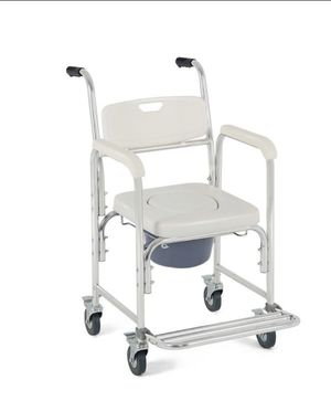 Costway Medical Commode Wheelchair Bedside Toilet Seat Bathroom Shower w Locking Casters for Sale in Cherry Valley, CA