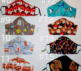 Toddlers Kids 100% Cotton fabric face masks Car, Tractor, Bus, Shark, School, Harry Potter for Sale in San Jacinto,  CA