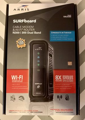 Arris SURFboard SBG6580 Wi-Fi Router & Cable Modem 300 Dual Band for Sale in Port Orange, FL