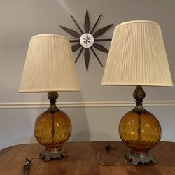 2 Vintage Lamp 60's Retro Mid Century Amber Glass Globe for Sale in Austin,  TX