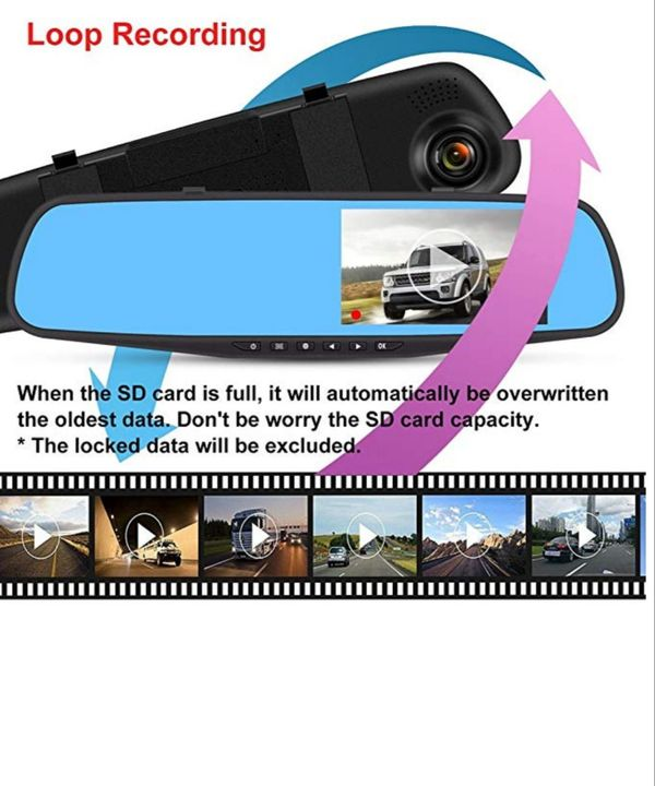 1080P Mirror Dash Cam, FHD Dashboard Camera Recorder, Dual Lenses Mirror New