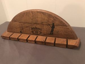 Jack Daniels fishing rod display (made from whiskey barrel) for Sale in Annapolis, MD