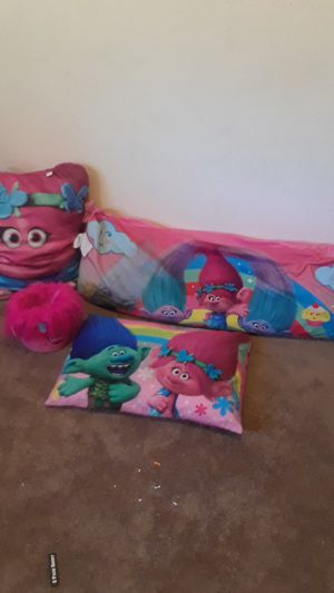 Trolls small pillow big trolls pillow small trolls bucket and long throw pillow holset Palmdale for Sale in Palmdale, CA