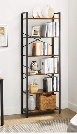 6-Tier Bookshelf, Home Office Bookcase, Storage Rack with Steel Frame, for Living Room, Office, Study, Hallway, 73.2 Inches High, Industrial Style, Ru for Sale in Eastvale,  CA