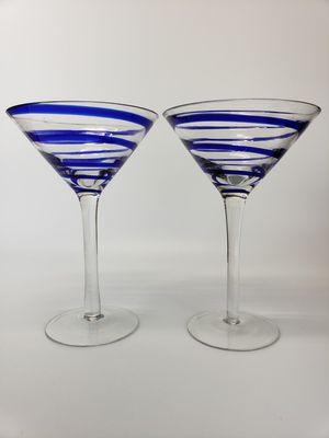 (2) Hand Blown Cobalt Blue Spiral Art Glass Martini Glasses /Stemware for Sale in Mesa, AZ