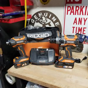 Brand New Ridgid 18v Cordless Brushless Octane Impact and Hammer Drill with 2 batteries and charger for Sale in Upland, CA
