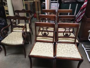 Set of eight gorgeous antique dining chairs -DIY -unique carved wood for Sale in Glenview, IL