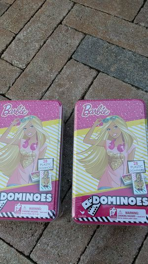 2 new kids Barbie dominoes games in tin can. Sealed new for Sale in Fort Lauderdale, FL