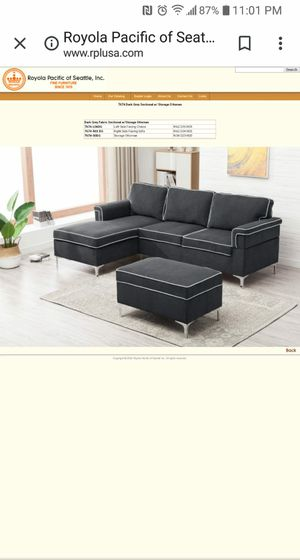 New Dark Grey fabric sectional & Ottoman for Sale in Puyallup, WA