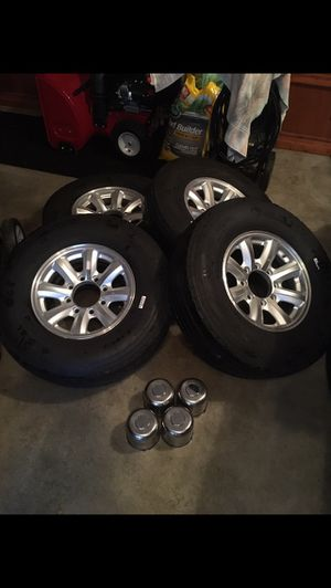 Aluminum trailer wheels and tires (see pictures and description) for Sale in New Carlisle, IN