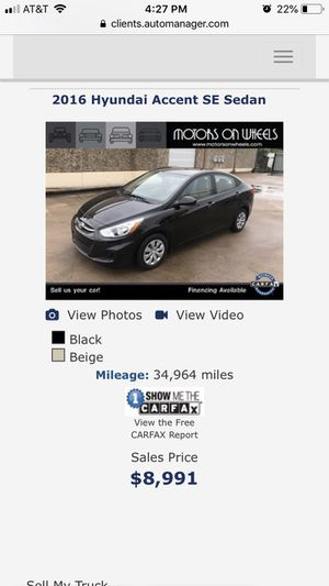 2016 Hyundai Accent 34K Miles ONE OWNER for Sale in Houston, TX