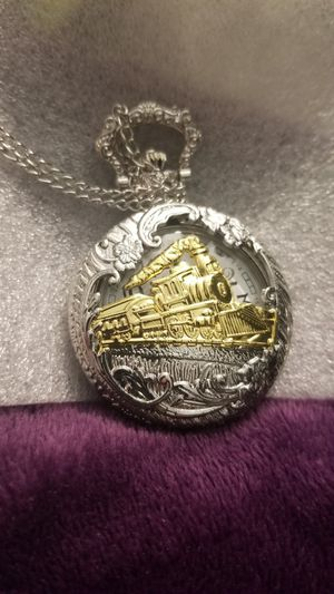 Pocket chain watch with train on it. for Sale in Salt Lake City, UT